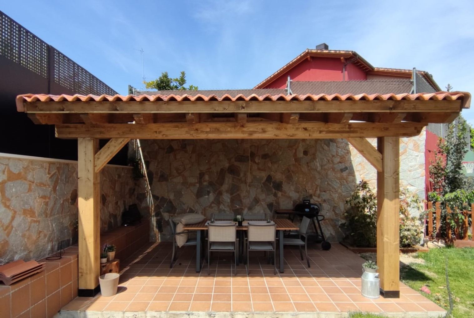 porche madera patio exterior jardin